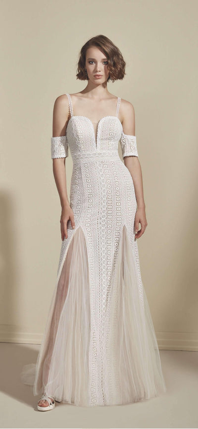 Sweetheart Lace Sheath Bohemian Wedding Dress with Plunge - Jana Ann Couture