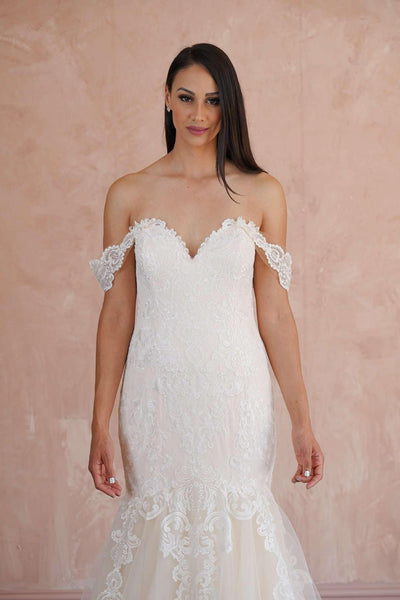 Sweetheart Off the Shoulder Couture Lace Wedding Dress - Jana Ann Couture