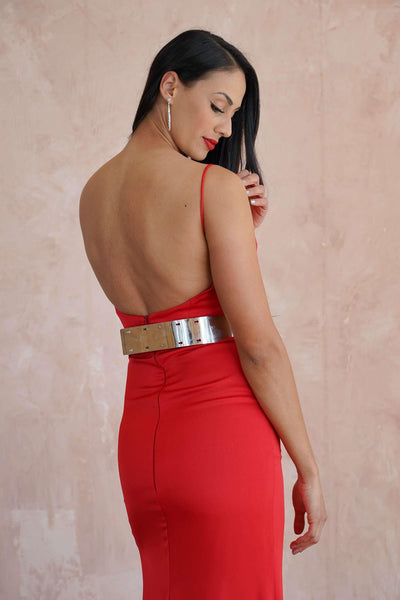 Sweetheart Satin Couture Red Carpet Dress with Slit and Belt - Jana Ann Couture