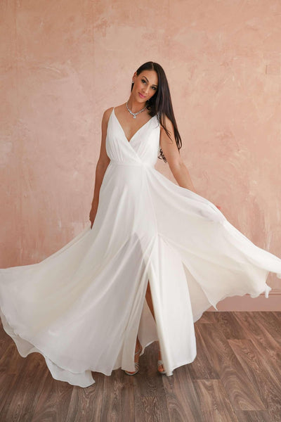 V-Neck A-Line Elegant Beach Wedding Dress with Low Back - Jana Ann Couture