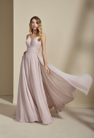 V-Neck Chiffon Bridesmaid Dress with Plunging - Jana Ann Bridal