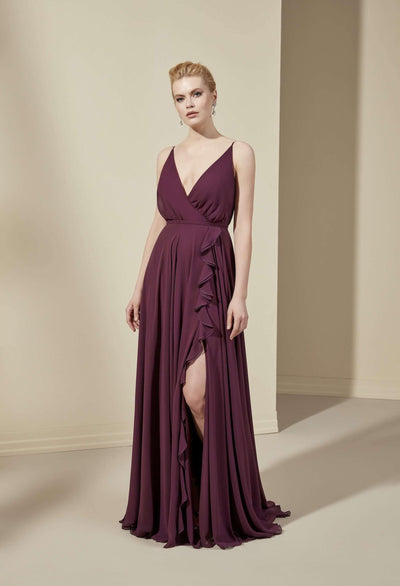 V-Neck Chiffon Bridesmaid Dress with Ruffle Slit - Jana Ann Bridal