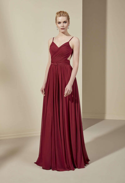V-Neck Chiffon Bridesmaid Dress with Waistband - Jana Ann Couture