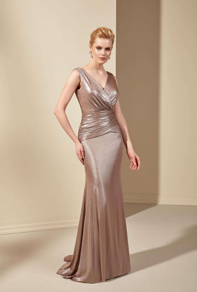 V-Neck Formal Dress with Low Back - Jana Ann Couture