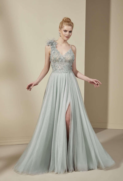 V-Neck Lace Prom Dress with Slit and 3D Flowers