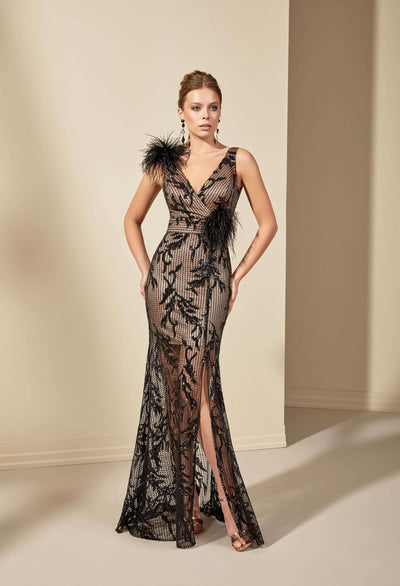 V-Neck Mermaid Formal Dress with Feathers