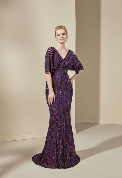 V-Neck Sequined Mother of the Bride Dress with Butterfly Sleeves - Jana Ann Couture