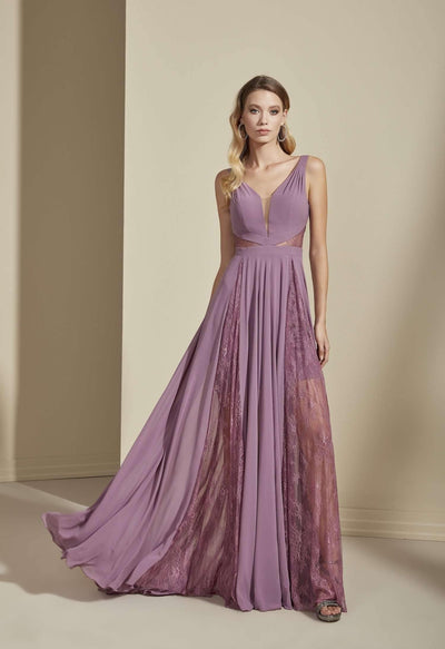 V-Neck Sleeveless Chiffon Formal Dress with Plunge - Jana Ann Couture