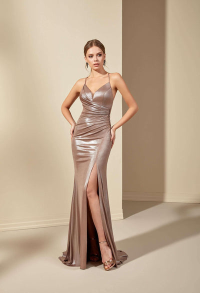 V-Neck Sparkly Jersey Prom Dress with Slit and Plunge