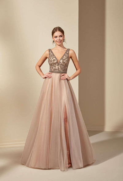 V-Neck Tulle Colored Wedding Dress with Beaded Bodice - Jana Ann Couture