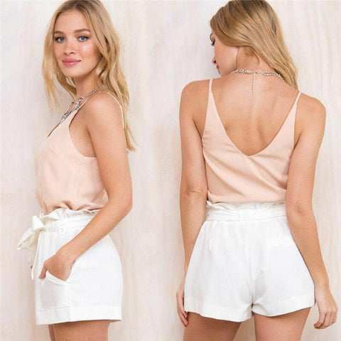 Image of Ruffle Shorts White - Far East Hype