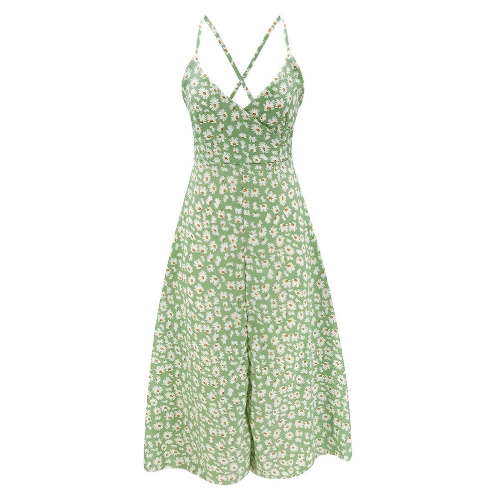 Low-Cut Summer Dress Green Floral - Far East Hype