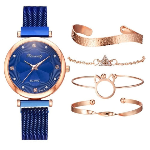 Rinnandy Watch and Jewelry Set Petit 5 Pcs