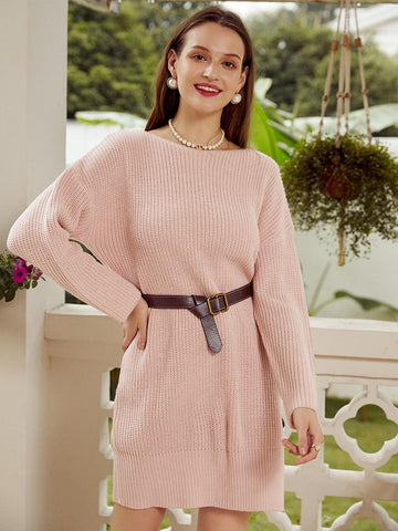 Knitted Autumn Sweater dress with peephole back - Far East Hype
