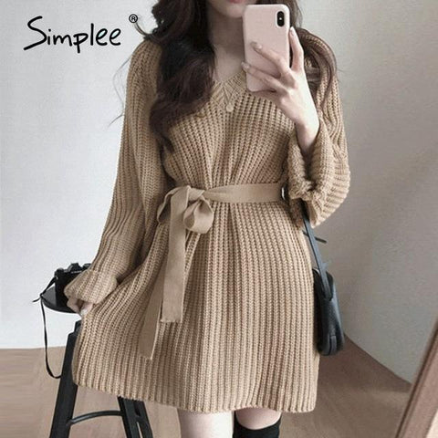 Classic knitted Sweater dress with belt - Far East Hype