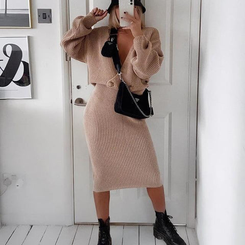 Knitted skirt and top - Autumn Sweater dress - Far East Hype