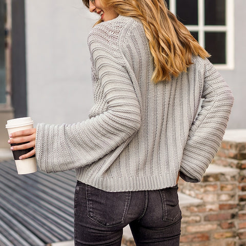 Knitted Sweater with bell sleeves