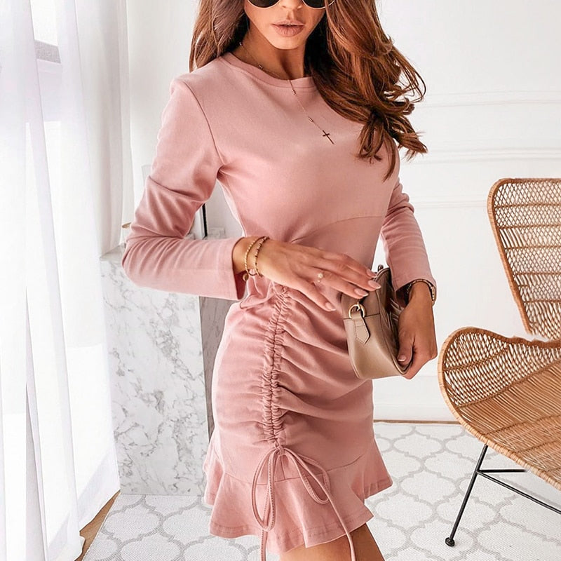 Pink Lace Up Dress