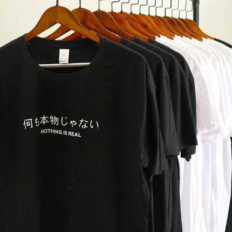 "Image of Spoken Script ""Never give up"" Shirt - Far East Hype"