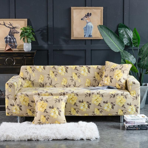 Universal Elastic printing Couch cover-YELLOW FLOWER