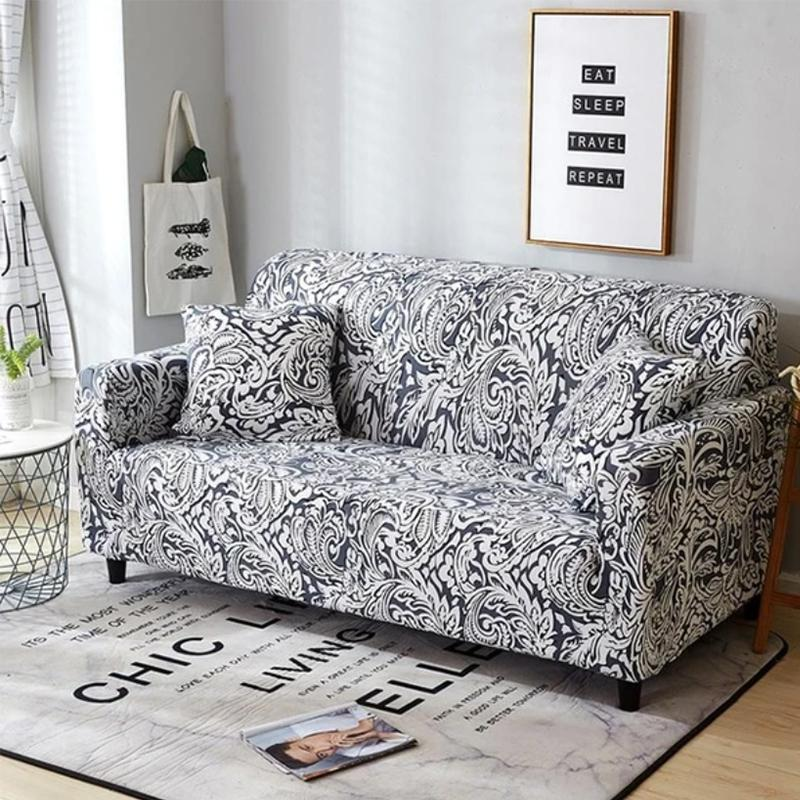 Elastic printing Couch cover-PHOENIX BLACK