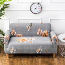 Elastic printing Couch cover - Gray Red Flower