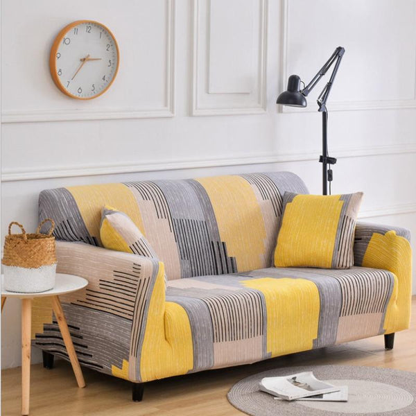 Elastic printing Couch cover- Yellow Pattern
