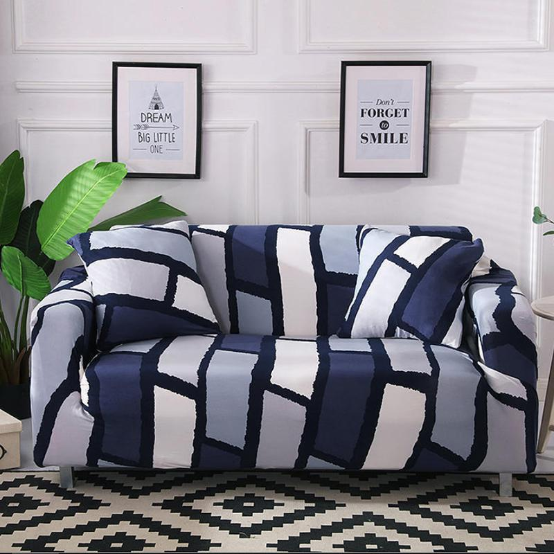 Elastic printing Couch cover-LILY-ANN BLUE