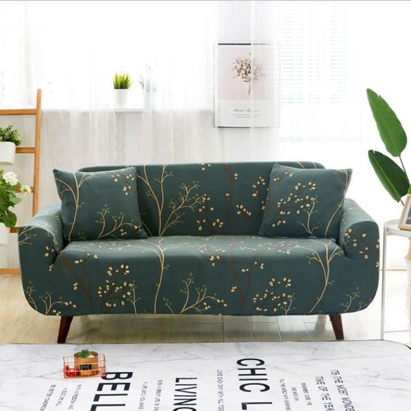 Elastic printing Couch cover-Green Print flower