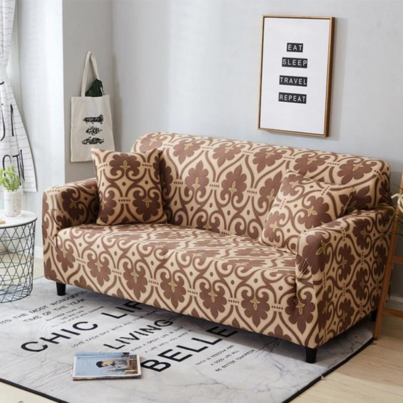 Elastic printing Couch cover-WILMA ABSTRACT BROWN