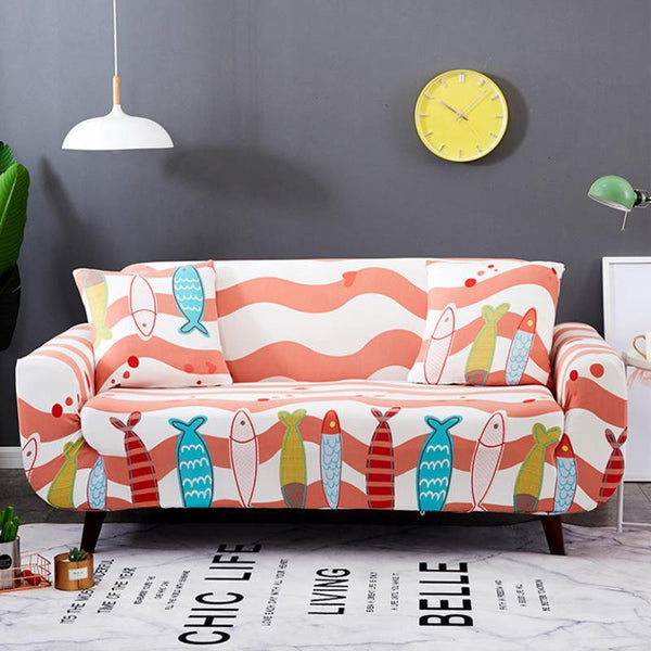 Elastic printing Couch cover-Happy Fish