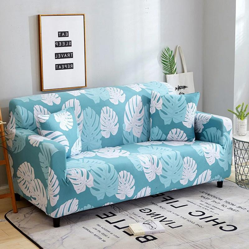 Elastic printing Couch cover-AYSE PRATT LIGHT BLUE