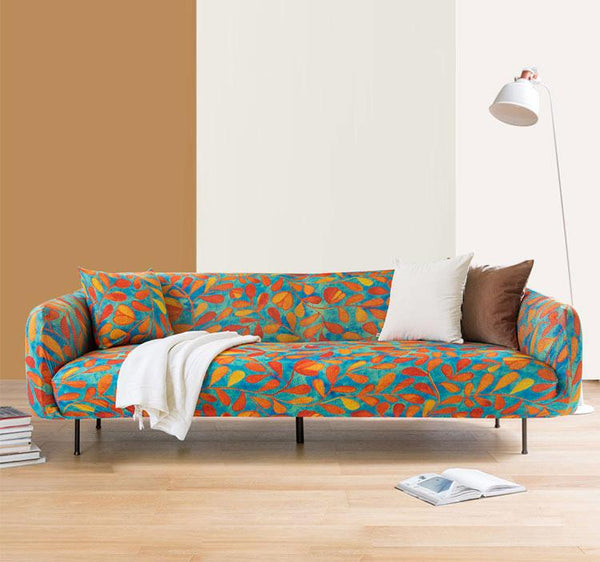 Bubble Crepe Stretch Printed Couch Cover-Jade Vine