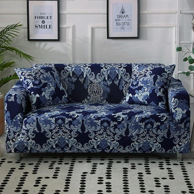 Elastic printing Couch cover-VINTAGE ABSTRACT BLUE