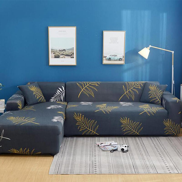 Elastic universal printing Couch cover-Feather leaf