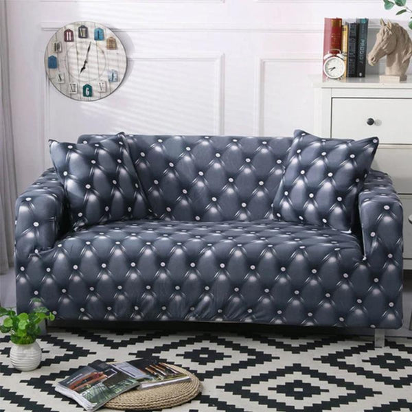 Elastic printing Couch cover-LEATHER PRINT GRAY