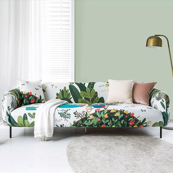 New design stretch printed couch cover-Arboretum
