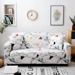 Elastic printing Couch cover-WHITE MARBLE