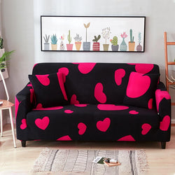 Elastic printing Couch cover-RED HEART LOVE