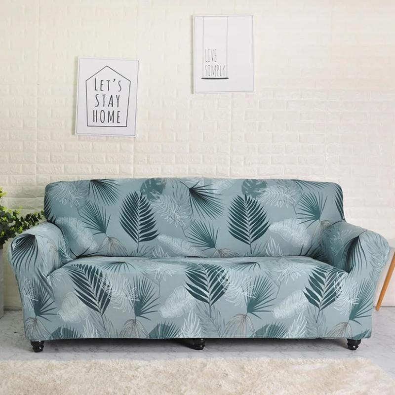 Elastic printing Couch cover-CHAIM BLUE GREEN
