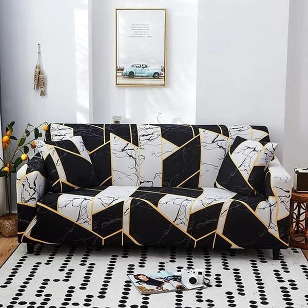 Elastic Printing Couch cover-Black & White