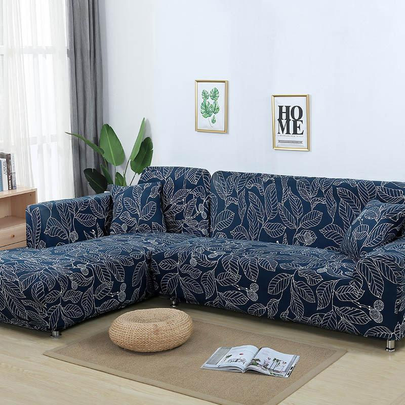 Elastic printing Couch cover-ALICE MANN BLUE