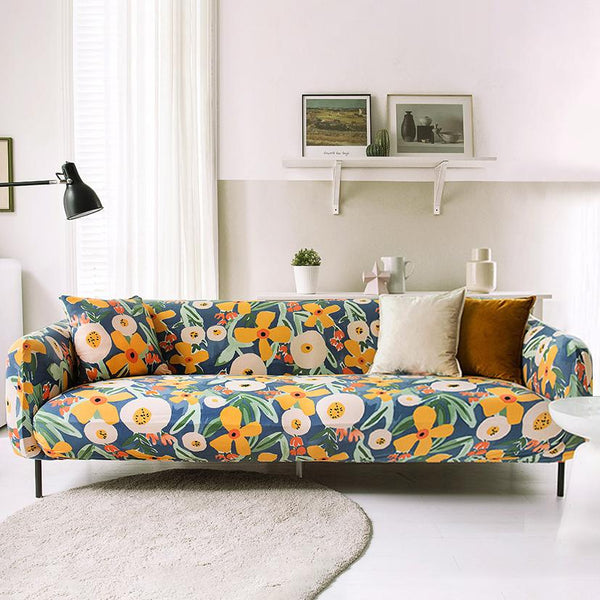 New design stretch printed couch cover-Moonflower
