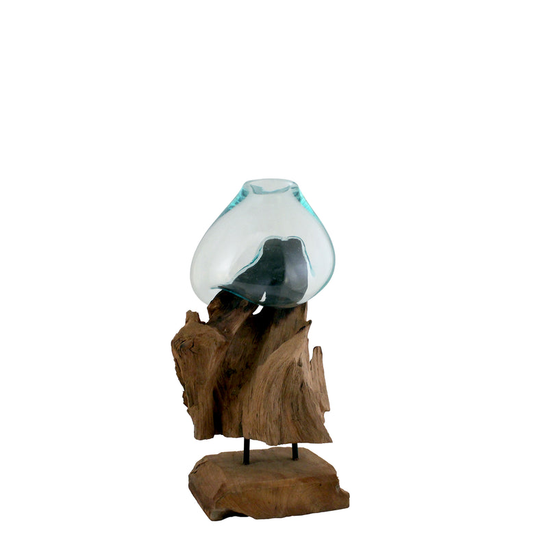 Glass & Wood Stand Vase