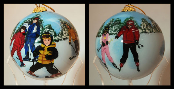 Family Skiing Ornament