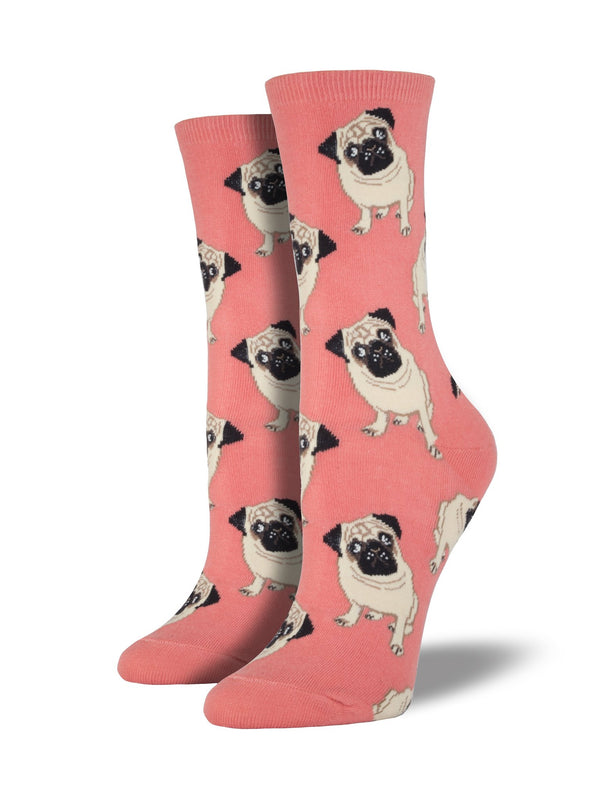 Peach socks featuring pugs