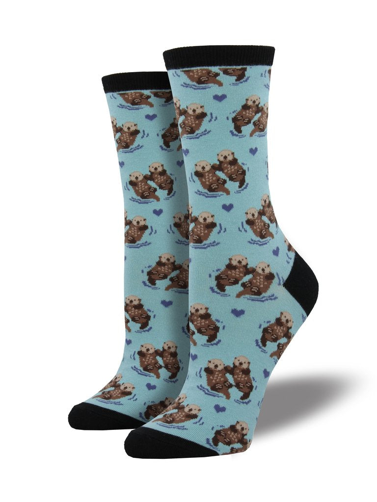 Blue socks featuring otters and blue hearts