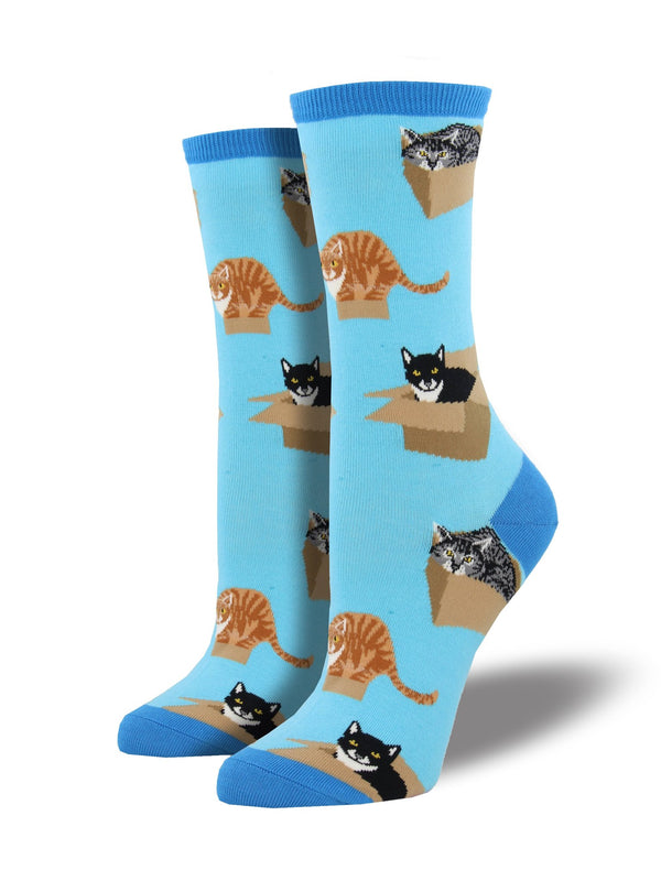 Blue socks featuring cats sitting in cardboard boxes.