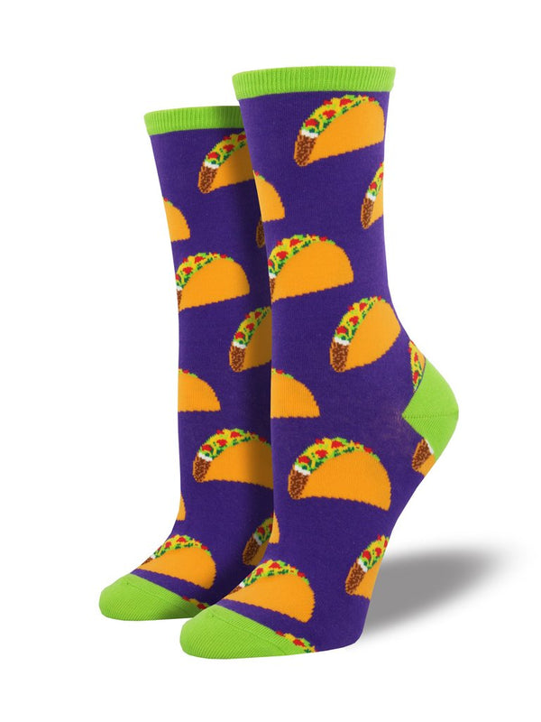 Purple socks featuring tacos