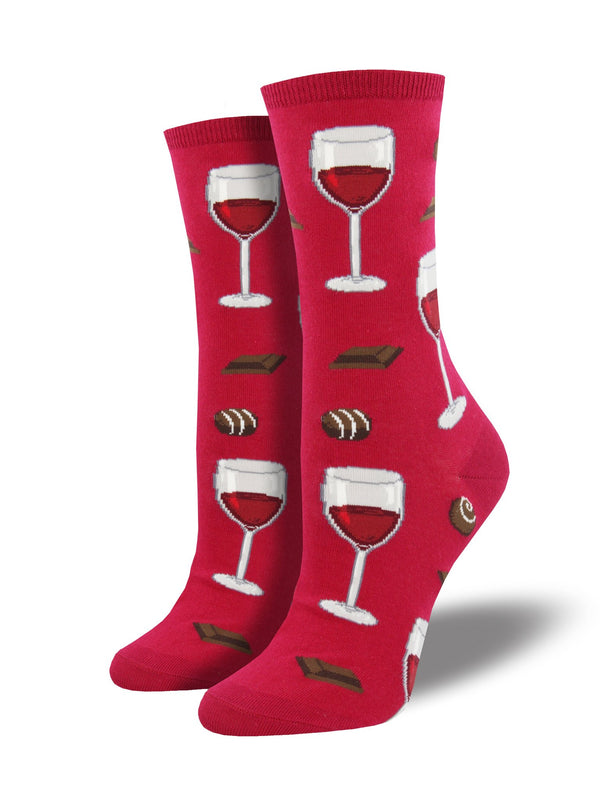 Red socks featuring wine glasses and chocolate
